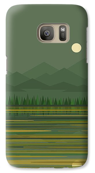 Galaxy Case featuring the digital art Mountain Lake Moon by Val Arie
