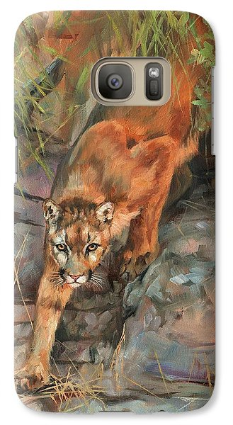Galaxy Case featuring the painting Mountain Lion 2 by David Stribbling