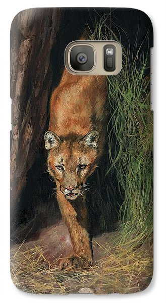 Galaxy Case featuring the painting Mountain Lion Emerging From Shadows by David Stribbling