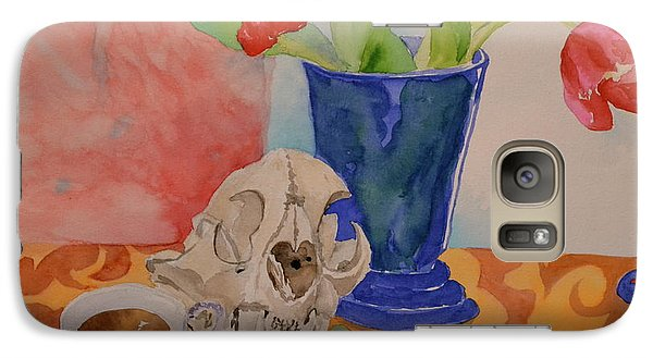 Galaxy Case featuring the painting Mountain Lion Skull Tea And Tulips by Beverley Harper Tinsley