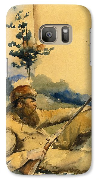 Galaxy Case featuring the drawing Mountain Man by Charles Schreyvogel