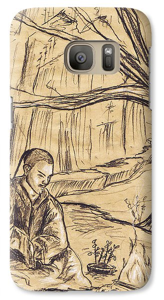 Galaxy Case featuring the drawing Mountain Oasis by Shawna Rowe
