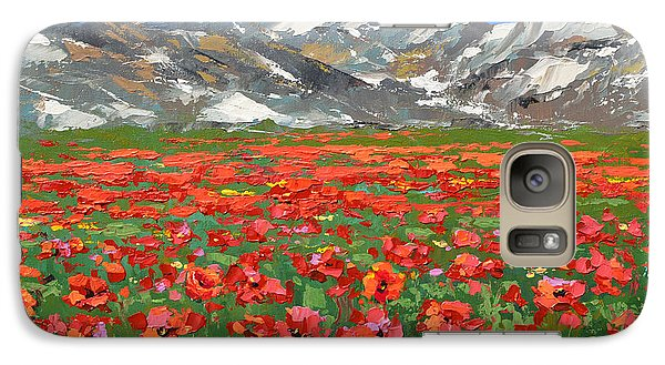 Galaxy Case featuring the painting Mountain Poppies   by Dmitry Spiros