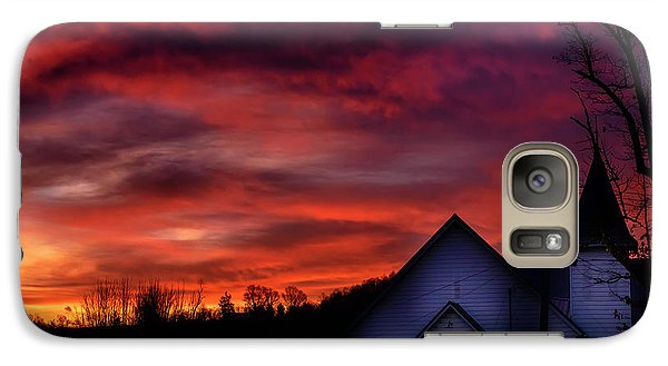 Galaxy Case featuring the photograph Mountain Sunrise And Church by Thomas R Fletcher