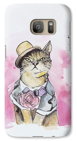 Cat Galaxy S7 Case - Mr Cat In Costume by Venie Tee
