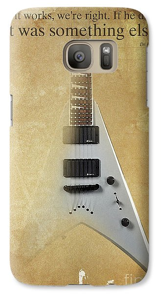 Dr House Inspirational Quote And Electric Guitar Brown Vintage Poster For Musicians And Trekkers Galaxy S7 Case by Pablo Franchi