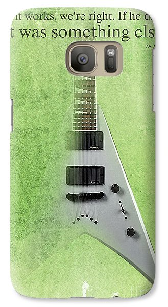 Dr House Inspirational Quote And Electric Guitar Green Vintage Poster For Musicians And Trekkers Galaxy S7 Case by Pablo Franchi