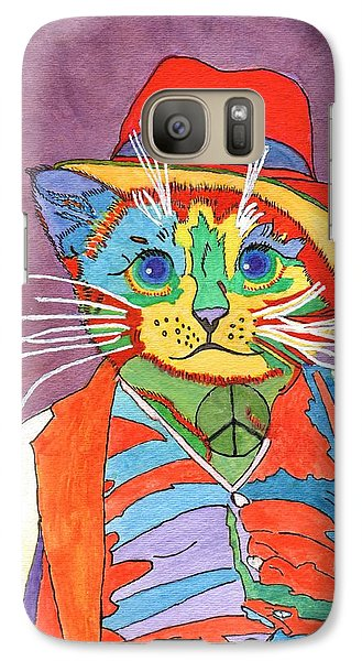 Galaxy Case featuring the painting Mr.wisker For Peace by Connie Valasco