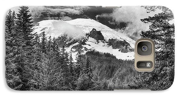 Galaxy Case featuring the photograph Mt Rainier View - Bw by Stephen Stookey