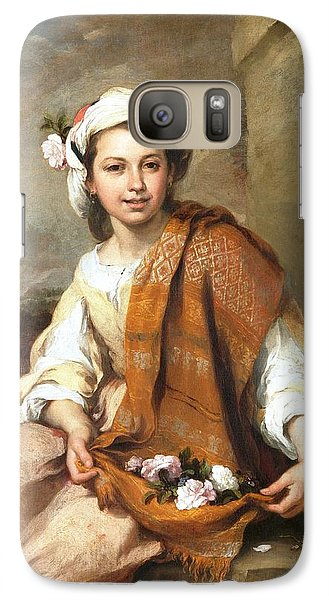 Galaxy Case featuring the painting Muchacha Con Flores by Pg Reproductions