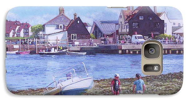 Galaxy Case featuring the painting Mudeford Quay Christchurch From Hengistbury Head by Martin Davey