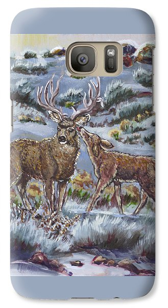Galaxy Case featuring the painting Mule Deer Lovers From River Mural by Dawn Senior-Trask