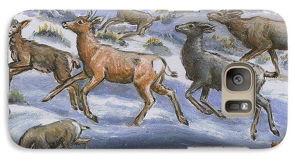 Galaxy Case featuring the painting Mule Deer Surprise by Dawn Senior-Trask