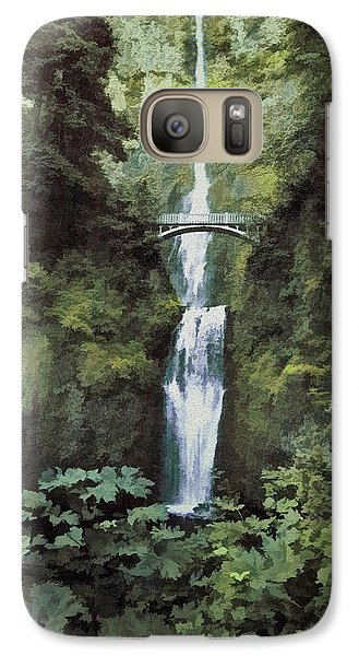 Galaxy Case featuring the photograph Multnomah Falls Painterly by Diane Schuster