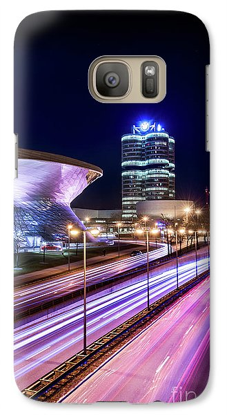 Galaxy Case featuring the pyrography Munich - Bmw City At Night by Hannes Cmarits