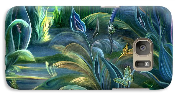 Galaxy Case featuring the painting Mural  Insects Of Enchanted Stream by Nancy Griswold