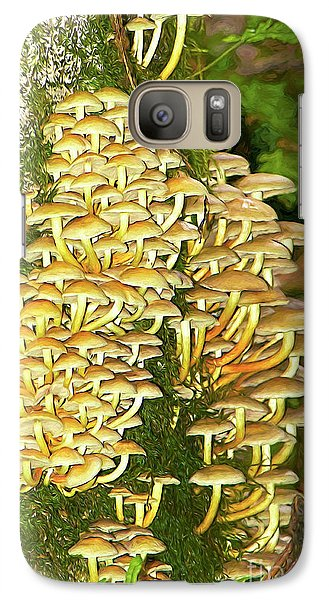 Galaxy Case featuring the photograph Mushroom Colony Photo Art by Sharon Talson