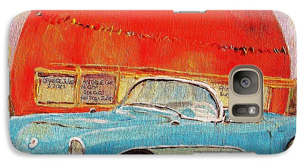 Galaxy Case featuring the painting My Blue Corvette At The Orange Julep by Carole Spandau