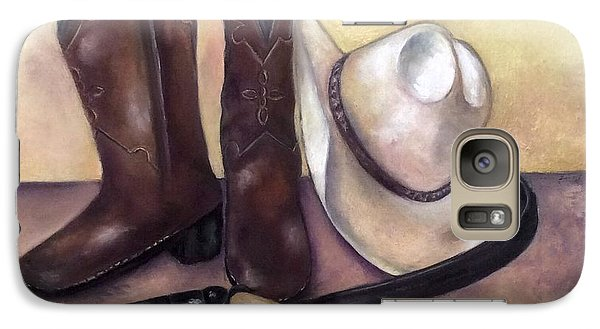 Galaxy Case featuring the painting My Cowboy's Home by Annamarie Sidella-Felts