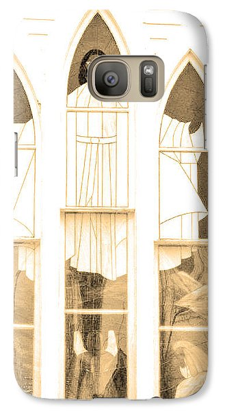 Galaxy Case featuring the photograph My Fathers Church Window by Lenore Senior