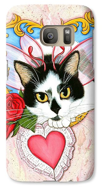 Galaxy Case featuring the painting My Feline Valentine Tuxedo Cat by Carrie Hawks