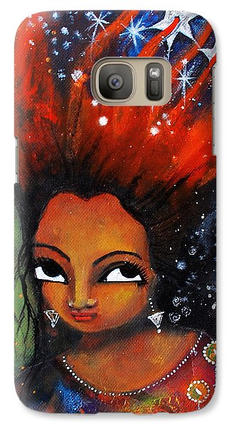 Galaxy Case featuring the mixed media My Hair Is Being Pulled By The Stars  by Prerna Poojara