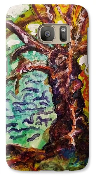 Galaxy Case featuring the mixed media My Treefriend by Mimulux patricia no No