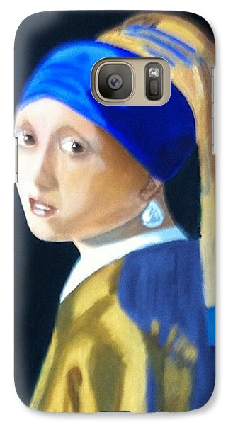 Galaxy Case featuring the painting My Version-girl With The Pearl Earring by Rod Jellison