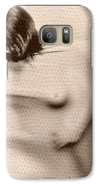 Galaxy Case featuring the photograph Naked Girl Behind Stretchy Fabric by Michael Edwards