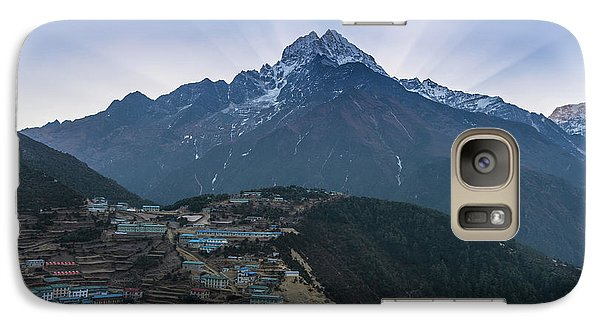 Galaxy Case featuring the photograph Namche And Thamserku Peak Morning Sunrays by Mike Reid