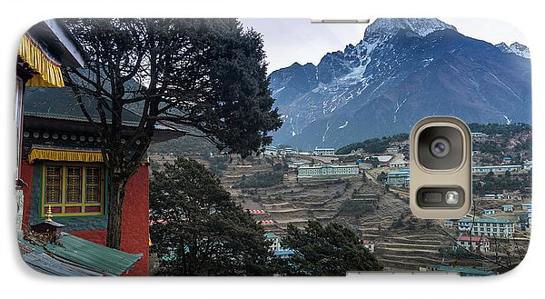 Galaxy Case featuring the photograph Namche Monastery Morning Sunrays by Mike Reid