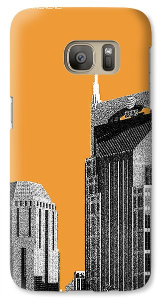 Nashville Skyline At And T Batman Building - Orange Galaxy S7 Case