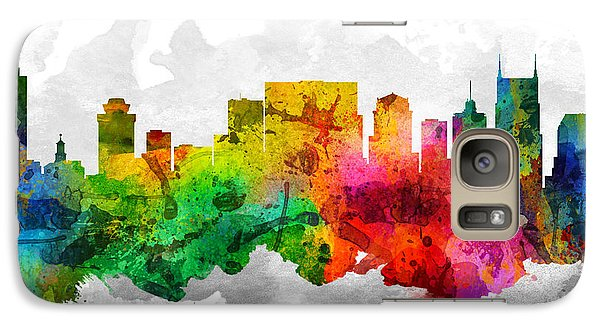 Nashville Tennessee Cityscape 12 Galaxy Case by Aged Pixel