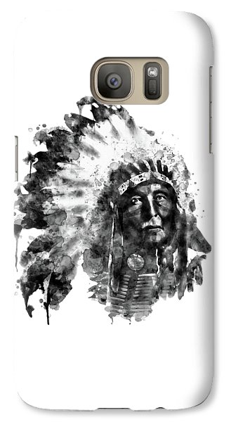Galaxy Case featuring the mixed media Native American Chief Black And White by Marian Voicu