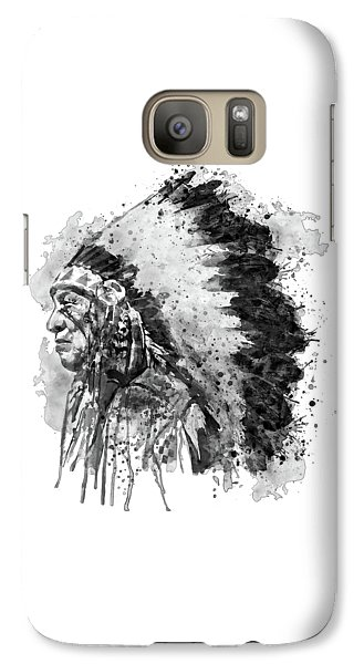 Galaxy Case featuring the mixed media Native American Chief Side Face Black And White by Marian Voicu