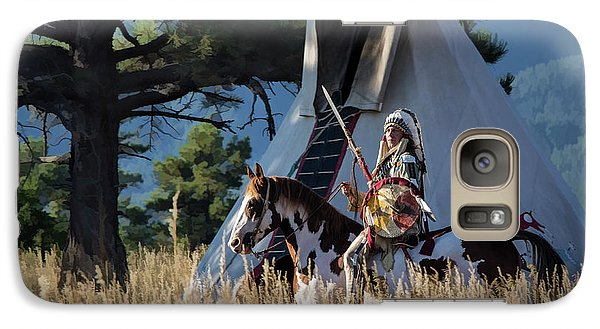 Native American In Full Headdress In Front Of Teepee Galaxy S7 Case
