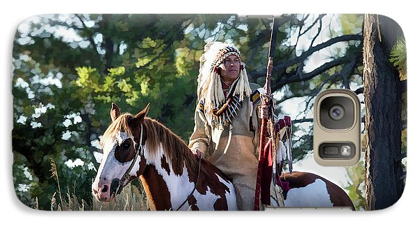 Native American In Full Headdress On A Paint Horse Galaxy S7 Case