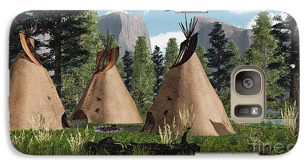 Galaxy Case featuring the photograph Native American Mountain Tepees by Walter Colvin