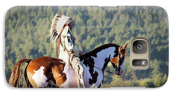 Native American On His Paint Horse Galaxy S7 Case