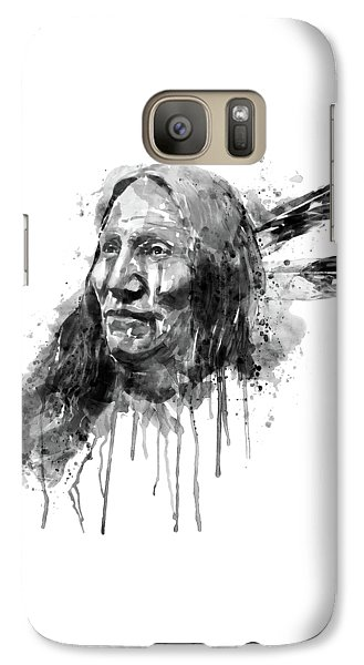 Galaxy Case featuring the mixed media Native American Portrait Black And White by Marian Voicu