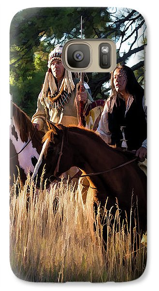 Native Americans On Horses In The Morning Light Galaxy S7 Case
