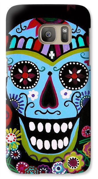 Galaxy Case featuring the painting Native Dia De Los Muertos Skull by Pristine Cartera Turkus
