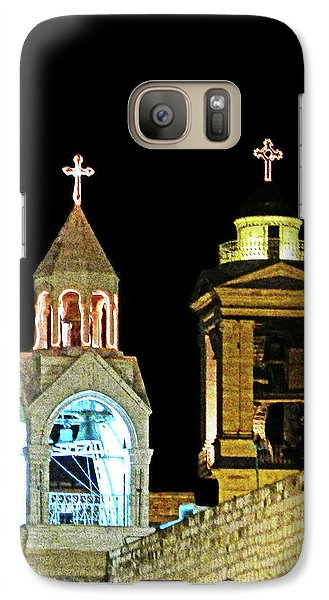 Galaxy Case featuring the photograph Nativity Church Lights by Munir Alawi