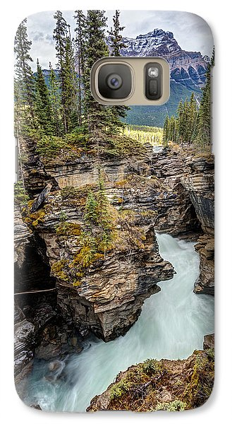 Galaxy Case featuring the photograph Natural Flow Of Athabasca Falls by Pierre Leclerc Photography