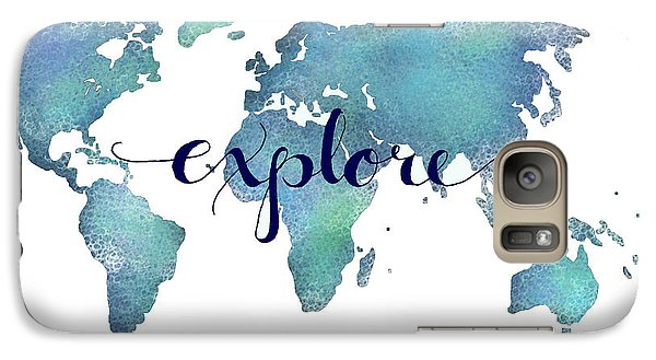 Navy And Teal Explore World Map Galaxy Case by Michelle Eshleman