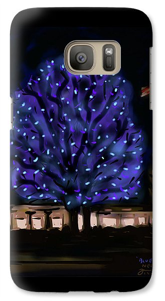 Galaxy Case featuring the painting Needham's Blue Tree by Jean Pacheco Ravinski
