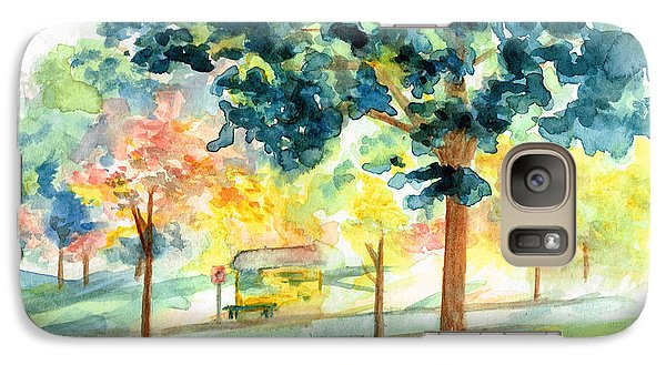Galaxy Case featuring the painting Neighborhood Bus Stop by Andrew Gillette