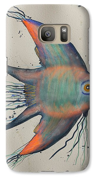 Galaxy Case featuring the mixed media Neon Blue Fish by Walt Foegelle