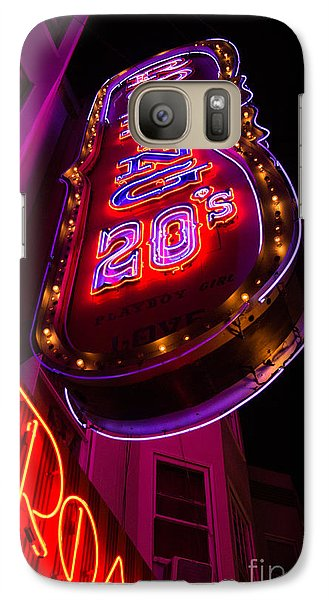 Galaxy Case featuring the photograph Neon Signs At Night In North Beach Low Angle Ve by Jason Rosette