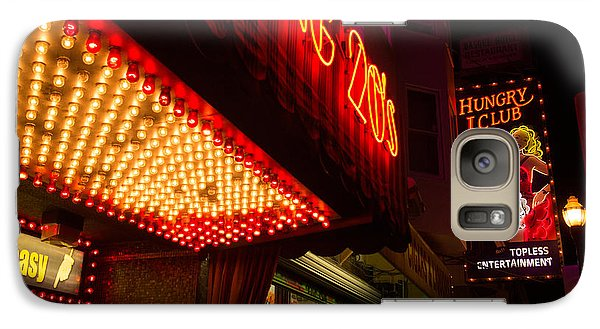 Galaxy Case featuring the photograph Neon Signs At Night In North Beach San Francisco With Light Bulb Awning by Jason Rosette